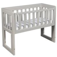 Troll Bedside Crib Oslo Soft Grey