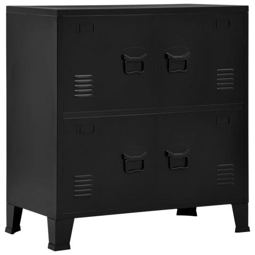 vidaXL Dokumentskåp med 4 dörrar industriell svart 75x40x80 cm stål