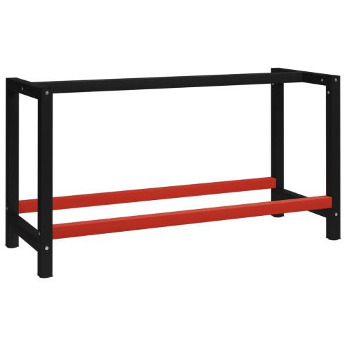 vidaXL Ram till arbetsbänk metall 150x57x79 cm svart och röd