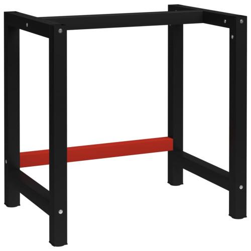 vidaXL Ram till arbetsbänk metall 80x57x79 cm svart och röd