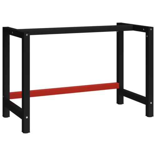 vidaXL Ram till arbetsbänk metall 120x57x79 cm svart och röd