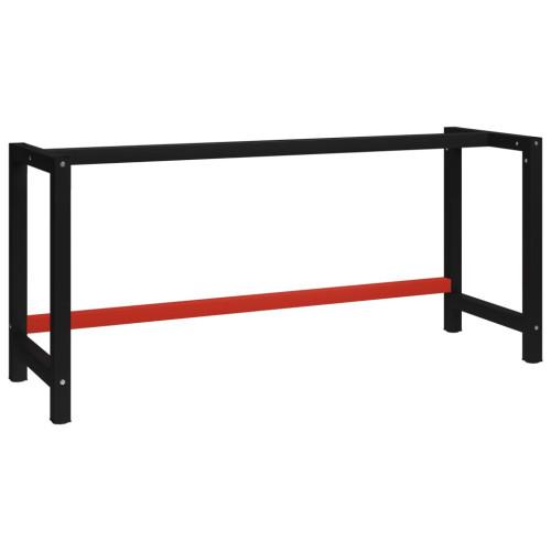 vidaXL Ram till arbetsbänk metall 175x57x79 cm svart och röd