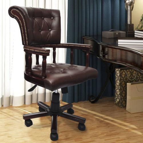 vidaXL Snurrbar kontorsstol brun