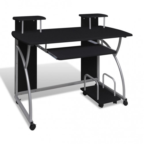 vidaXL Datorskrivbord med utdragbar hylla för tangentbord svart