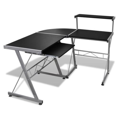 vidaXL Datorskrivbord med hylla för tangentbord L-formad svart