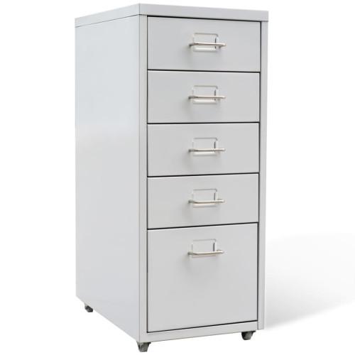 vidaXL Arkivskåp med 5 lådor grå 68,5 cm stål