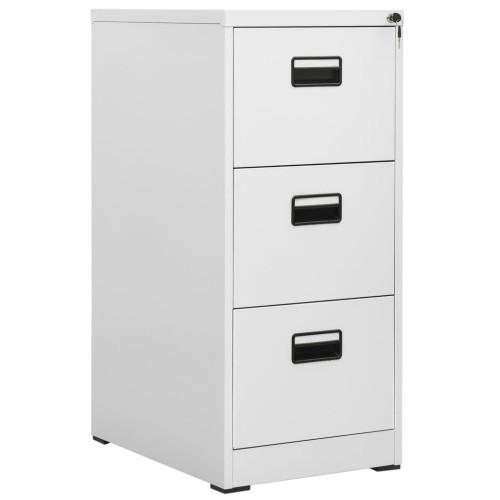 vidaXL Arkivskåp med 3 lådor grå 102,5 cm stål