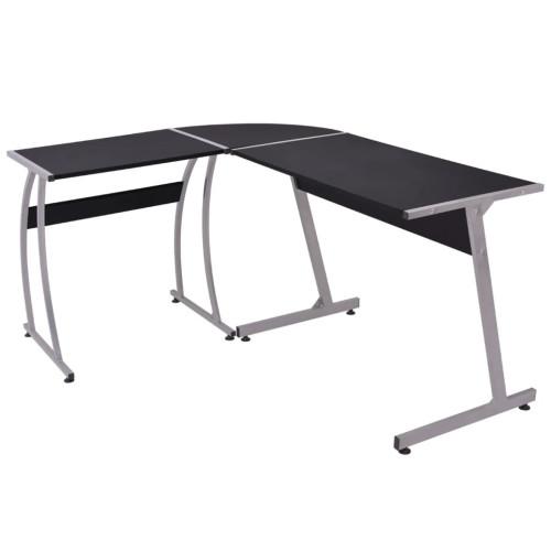 vidaXL Hörnskrivbord L-formad svart