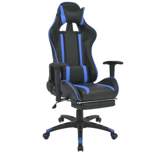 vidaXL Kontorsstol i sportbilsdesign med fotstöd blå