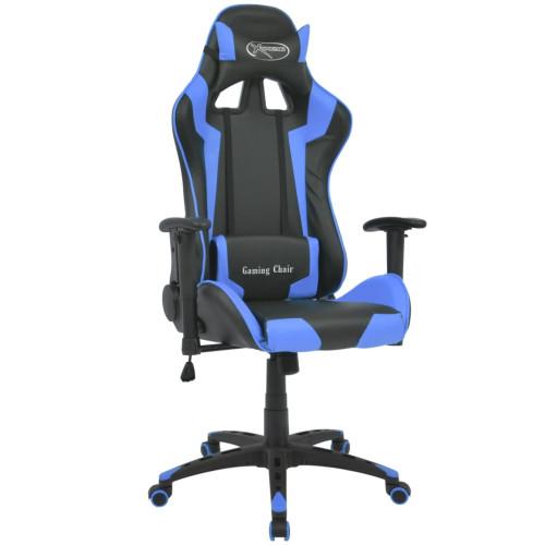 vidaXL Kontorsstol i sportbilsdesign konstläder blå