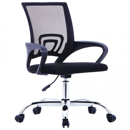 vidaXL Kontorsstol med ryggstöd i nät svart tyg