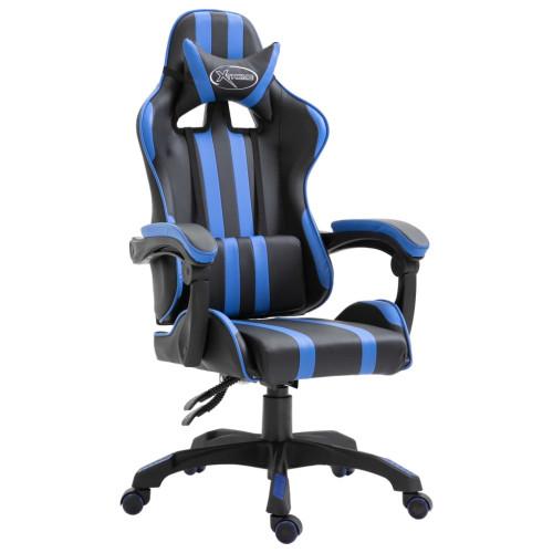 vidaXL Gamingstol blå konstläder