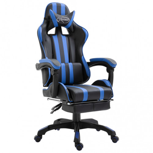 vidaXL Gamingstol med fotstöd blå konstläder