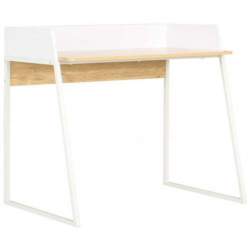 vidaXL Skrivbord vit och ek 90x60x88 cm