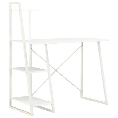 vidaXL Skrivbord med hyllenhet vit 102x50x117 cm