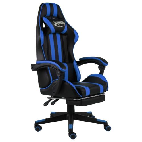Dream Living Gamingstol med fotstöd svart och blå konstläder