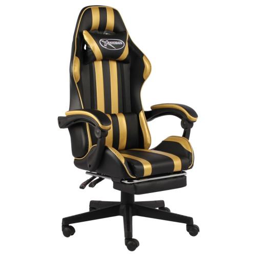 Dream Living Gamingstol med fotstöd svart och guld konstläder
