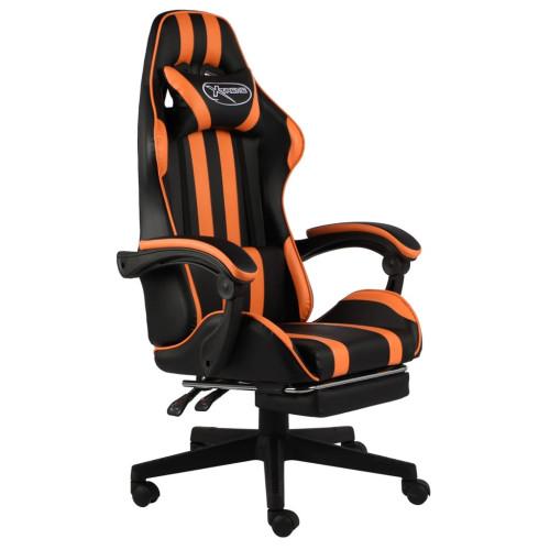 Dream Living Gamingstol med fotstöd svart och orange konstläder
