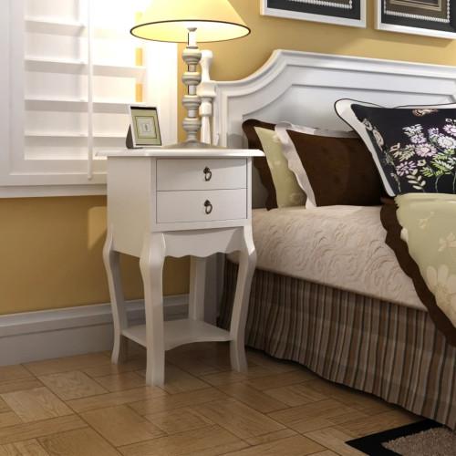vidaXL Sängbord med 2 lådor vit