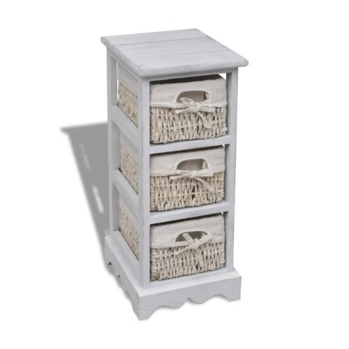 Dream Living Förvaringshylla med 3 korgar trä vit