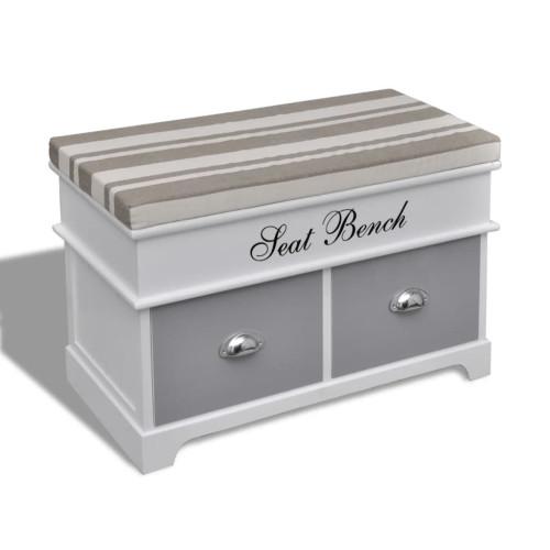 vidaXL Hallbänk vit med grå dyna 2 lådor
