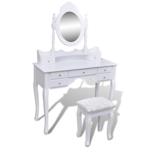 Dream Living Sminkbord med spegel och pall 7 lådor vit