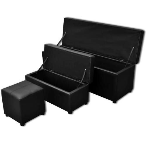 vidaXL Förvaringsbänkar 3 st konstläder svart