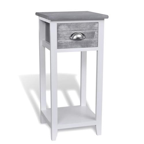 Dream Living Sängbord med 1 låda grå och vit