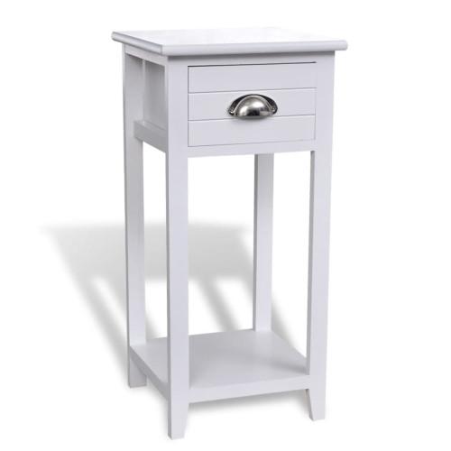 vidaXL Sängbord med 1 låda vit