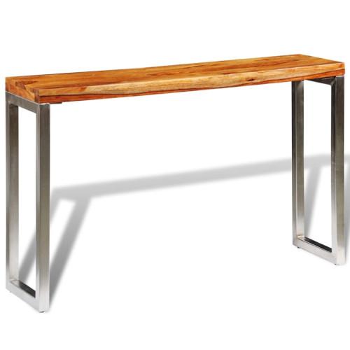 vidaXL Konsolbord i massivt sheshamträ med stålben