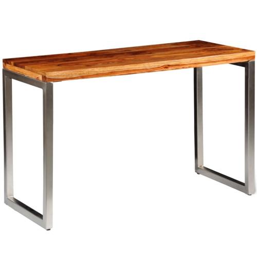 vidaXL Matbord/skrivbord i massivt sheshamträ med stålben
