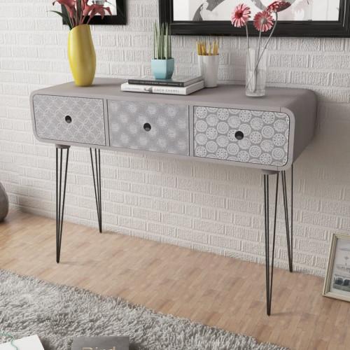 vidaXL Konsolbord med 3 lådor grå
