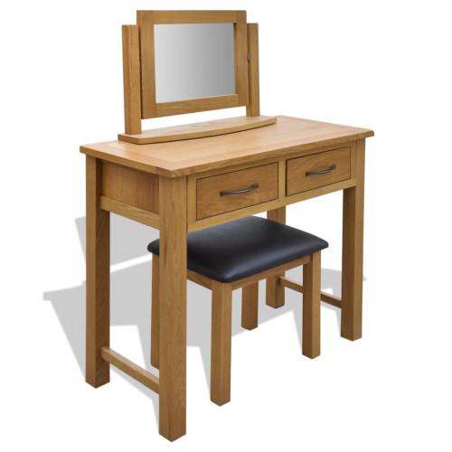 vidaXL Toalettbord med pall massiv ek