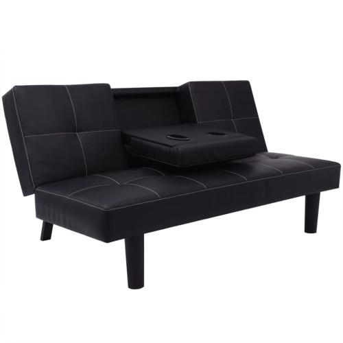 vidaXL Bäddsoffa med nedfällbart bord svart konstläder