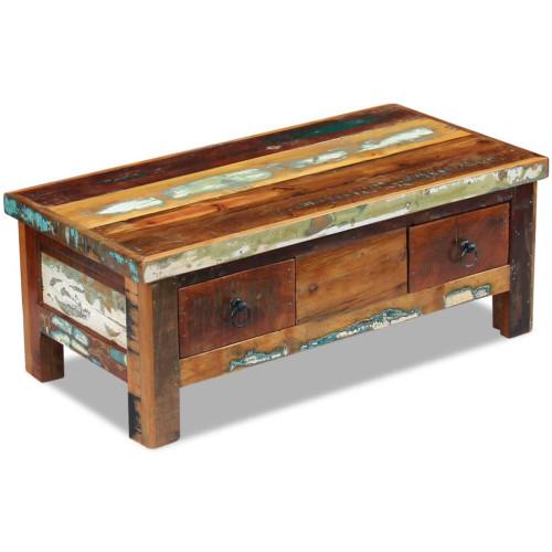 vidaXL Soffbord med lådor massivt återvunnet trä 90x45x35 cm