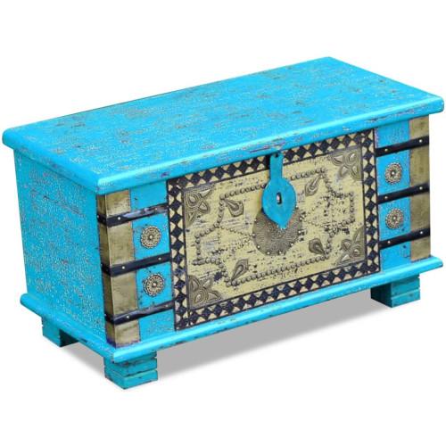Dream Living Förvaringskista mangoträ blå 80x40x45 cm