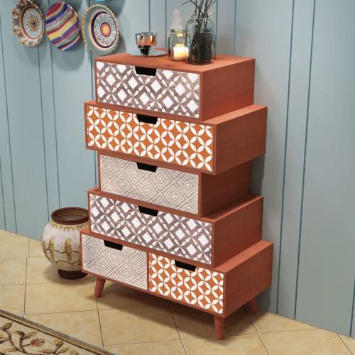 vidaXL Sidoskåp med 6 lådor brun
