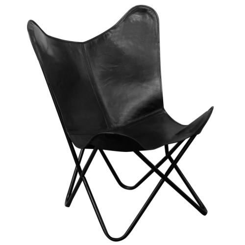 Dream Living Fladdermusfåtölj svart äkta läder