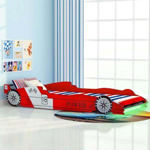 Dream Living LED Barnsäng racerbil 90x200 cm röd