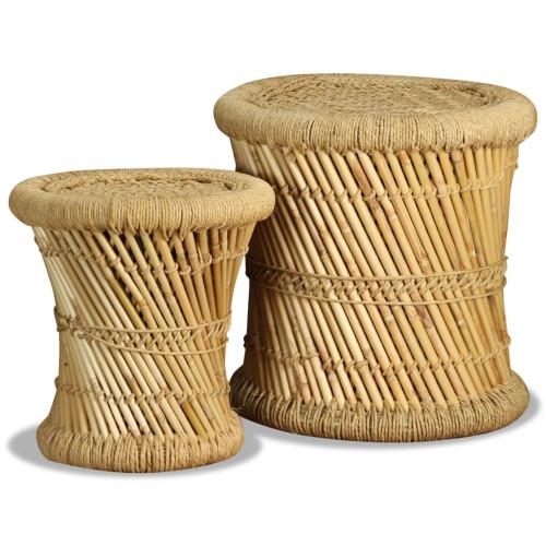 vidaXL Pallar 2 st bambu och jute