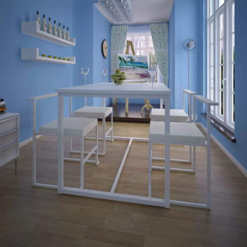 vidaXL Matbord och stolar fem delar vit