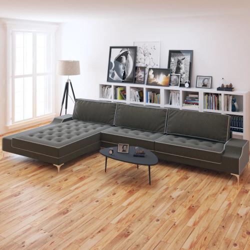 vidaXL L-formad soffa tyg mörkgrå XXL 326x163x83 cm