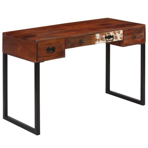 vidaXL Skrivbord massivt sheshamträ och äkta läder 117x50x76 cm