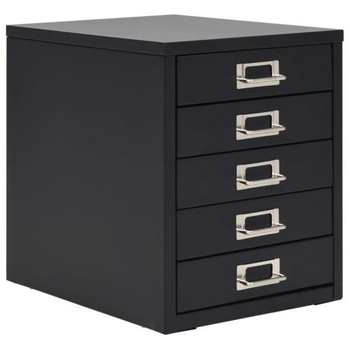 vidaXL Arkivskåp med 5 lådor metall 28x35x35 cm svart