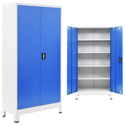 vidaXL Kontorsskåp metall 90x40x180 cm grå och blå