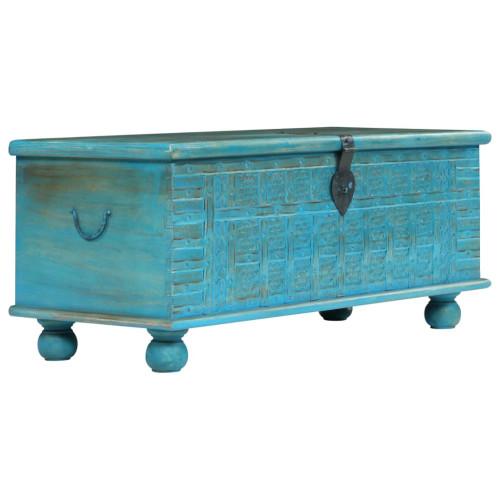 Dream Living Förvaringskista massivt mangoträ 100x40x41 cm blå