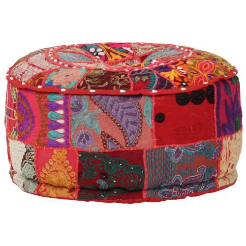 Dream Living Sittpuff med lappmönster rund bomull handgjord 40x20 cm röd