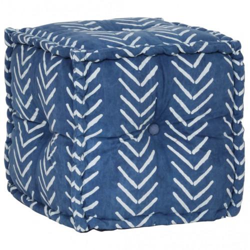 vidaXL Sittpuff med mönster kub bomull handgjord 40x40 cm indigo
