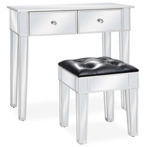 vidaXL Sminkbord med pall spegellådor MDF och glas