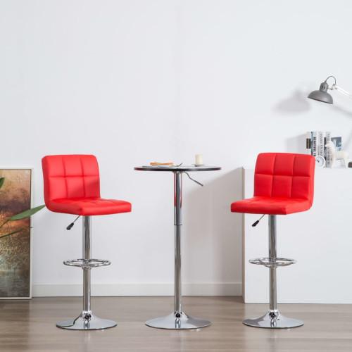 vidaXL Barstolar 2 st röd konstläder
